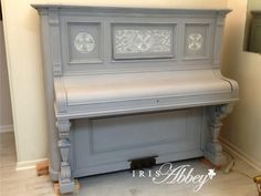 Mahogany Piano painted by Iris Abbey in ASCP. Paris Grey, Old White, Clear Wax. http://www.irisabbey.com/uncategorized/an-antique-piano-and-annie-sloan-chalk-paint/