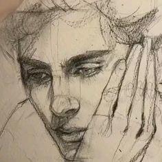 Dark Art Drawings, Pencil Art Drawings, Art Drawings Sketches, Portrait Sketches, Portrait Art, Watercolor Portraits, Watercolor Art, Charcoal Art, Charcoal Sketch