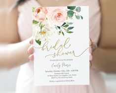 Bridal Shower Invitation, Printable Template, Bridal Shower Invite, Eternal Dusty Blush Gold Floral – Famous Last Words Brunch Invitations, Invitation Kits, Printable Baby Shower Invitations, Save The Date Invitations, Baby Shower Invites For Girl, Baby Shower Printables, Bridal Shower Invitations, Baptism Invitations Girl, Blush And Gold