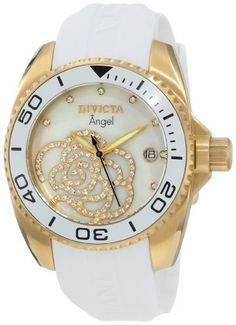 Invicta Women's 0488 Angel Collection Cubic Zirconia Accented Polyurethane Watch Invicta. $99.99. Precise Swiss-quartz movement. Durable mineral crystal; brushed 18k gold-plated stainless steel case; white polyurethane strap. White mother-of-pearl dial with luminous gold-tone hands and 12 cubic zirconia hour markers; gold-tone and cz design on dial; white unidirectional bezel. Date function. Water-resistant to 330 feet (100 M). Save 83%!