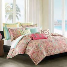 JLA Home Coral & Mint Paisley Comforter Set .guest bedroom make over. Comforter Sets, Duvet Sets, Home, Paisley Duvet, Jla Home, Paisley Bedding, Bedding Sets, Living Design, Paisley Bedding Set