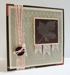 Favorite Argyle Sweater September 26, 2013 |  Argyle Textured Impressions Embossing Folder, Pewter Stampin' Emboss Powder, Best of Autumn Leaf.
