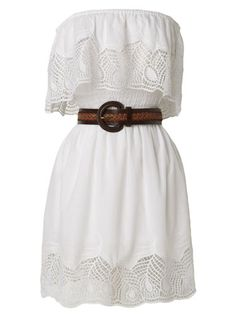Country style white dress...finish the look with a great pair of cowgirl boots from SHOE DEPT. ENCORE #shesgonecountry