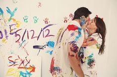 Paint War Engagement Pictures! So cute and would be really fun. This website has many pictures that were taken during the photo shoot of the couple just being silly with each other(: