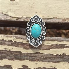 Tibetan Turquoise and Carved Silver Ring Adjustable Ring ~ Tibetan Turquoise and Carved Silver Ring. Estimated size 8 but adjusts as needed. ❤️ Bundles.  Trades. ALL respectful offers accepted. Please use Offer . Thanks for looking ☺️ Jewelry Rings