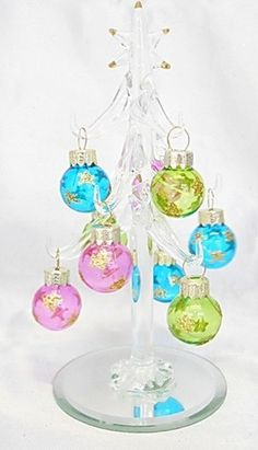 New Hand Blown Glass Christmas Tree Pastel Removable Ornaments Gold Star on Top | eBay