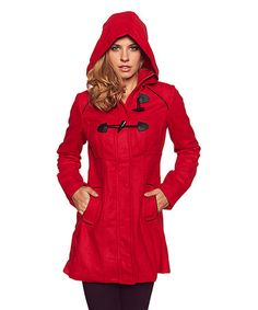 Look at this #zulilyfind! Red Toggle Button Coat #zulilyfinds