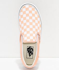 Vans Slip-On Bleached Apricot   White Checkerboard Skate Shoes 658141796