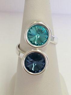 Bague réglable en argent 925 double cabochon Swarovski Element Light turquoise et Denim Blue (tons bleus) : Bague par manava-creation