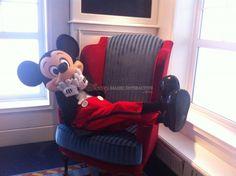 Mickey enjoying himself on the chair.