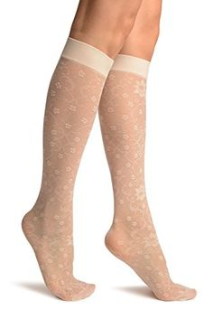 f4880b5ba Cream Orchids On Lace Socks Knee High - Socks at Amazon Women s Clothing  store