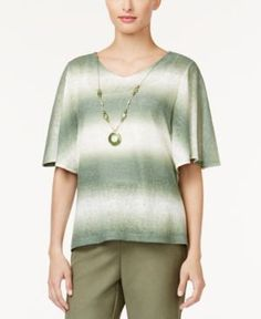 Alfred Dunner Petite Palm Desert Ombre Necklace Top - Multi PS