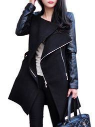 Faux Leather Patchwork Long Sleeve Fashion Womens Pea Coat
