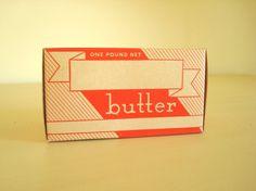 Vintage butter carton, waxed cardboard package, original 1940s butter box.