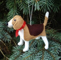 Beagle Christmas Tree Ornament Dog by PatriciaWelchDesigns on Etsy