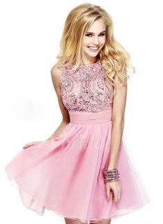 Abendkleider - $105.99 - A-Linie/Princess-Linie U-Ausschnitt Kurz/Mini Chiffon Abendkleid mit Rüschen Perlen verziert Schleife(n) (0175055986)