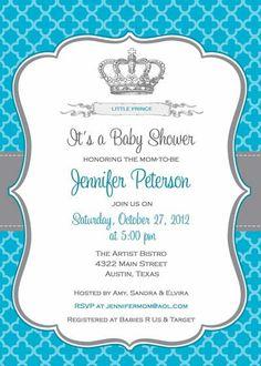 Baby Shower Invitation - Prince Crown for Boy- DIY Printable - Blue. $12.50, via Etsy.