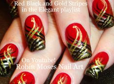 Subscribe! Nail art Tutorials straight from my shop 3 times a week!!! Here are Red Nails with Stripes! Black and Gold Nail Design tutorial! a perfect nail ar...