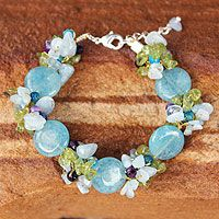 'Peony Romance' aquamarine and peridot beaded #bracelet
