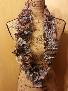 String Theory Fiber Works: Loom Knit Drop Stitch Ruffle Infinity Scarf