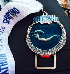 Shipyard Maine Coast half marathon 2016 medal - Fifty States Half Marathon Club members - 50stateshalfmarathonclub.com member photos. Running Bling. Running medals. Photo by Paula Y.