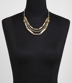 #ExpressJeans SHORT THREE-ROW METAL TUBE BEAD NECKLACE at Express
