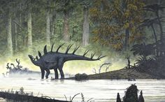 Kentrosaurus Drinking from a Late Jurassic African Forest River by James Field