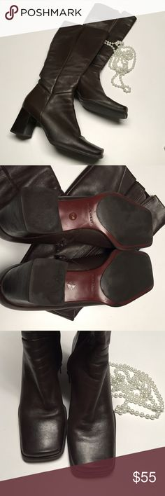 Nine West Zarraso Leather Boots Brown Leather Boots 2.5 inch heel, Made in Brazil, EUC Nine West Shoes Heeled Boots