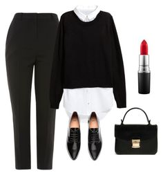 """with a touch of red"" by raventailor on Polyvore featuring Topshop, H&M, Forever 21 and MAC Cosmetics"