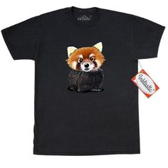Inktastic KiniArt Red Panda T-Shirt By KiniArt Hippopotamus Elephant Rabbit Beaver Owl Hedgehog Hippo Badger Mens Adult Clothing Apparel Tees T-shirts Kim Niles, Size: Large, Black