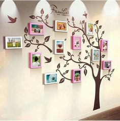 Unique family tree photo frame and decal - WallDecal Family Tree Photo, Family Photo Frames, Family Wall, Photo Tree, Photo Frame Ideas, Family Trees, Creative Photo Frames, Family Tree Mural, Small Photo Frames