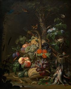 Abraham Mignon  Still Life with Fruit, Fish, and a Nest, c. 1675