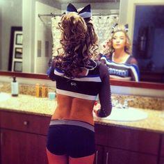 <3 Cheer Makeup, Half Up, Cheerleading, Cheer Hairstyles, Cheer Stuff, Crop Tops, Bra, Hair Styles, Beautiful