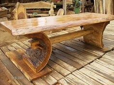Fine Wood Table Designs Look around as you move throughout your day. You see examples of man's mastery of woodworking everywhere. From mailbox posts to pieces of furniture and art to full buildings, the power to use wood to create is Rustic Log Furniture, Live Edge Furniture, Wood Furniture, Furniture Buyers, Furniture Websites, Rustic Table, Wooden Tables, Rustic Wood, Log Table