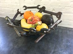 """steel bowl #9 made with welded wrenches and tools.  13"""" diameter x 5 1/2"""" high"""