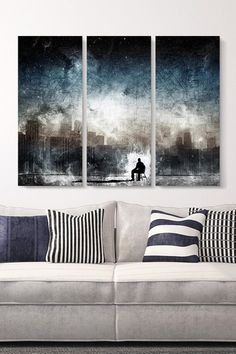 """""""Aenema"""" by Alex Cherry, Print on Canvas - 18"""" x 42"""" - Set of 3 by Non Specific on @HauteLook"""