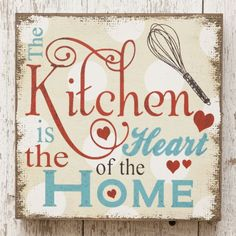 New Retro Vintage Farmhouse Diner KITCHEN HEART OF HOME Block Wall Sign #Unbranded #Country