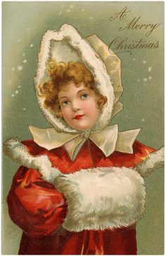 Girl with Fur Muff Vintage Antique Christmas Card Postcard Image. Childrens Christmas, Christmas Fairy, Kids Christmas, Christmas Journal, Blue Christmas, Christmas Decor, Merry Christmas, Xmas, Vintage Christmas Images