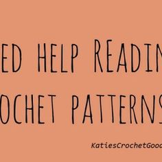Reading Crochet Patterns