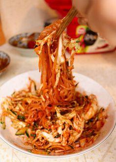 The BEST Japchae Recipe (Korean Glass Noodle Stir Fry)   잡채 — ahnesty Sauteed Carrots, Cooked Carrots, Radish Kimchi, Kimchi Recipe, Onion Salad, Braised Pork, Japchae Recipe Korean, Japanese Gyoza, Korean Glass Noodles