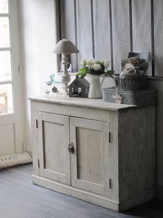 simple grey painted cupboard