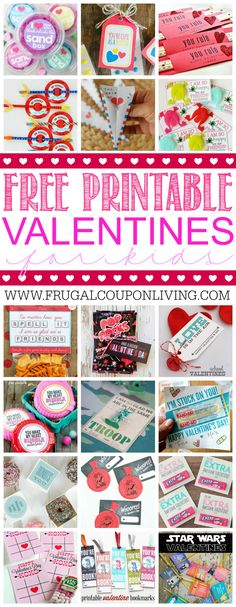 28 Printable Valentines for the Kids - fun printables for homemade valentines on Frugal Coupon Living.