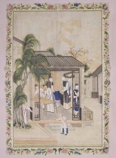 Chinese picture on paper depicting a stage in the production of silk, with a Chinese paper border and mounted as wallpaper at Erddig in the 1770s. ©National Trust Collections