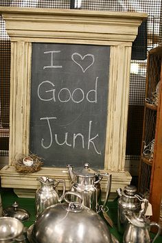 This is what my chalkboard paint project tuned out to look like, dark green. of course ; Flea Market Style, Flea Market Finds, Flea Markets, Chalk It Up, Chalk Board, Time Shop, Chalkboard Paint, Funky Junk, Store Displays