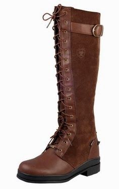Brown long boots with laces