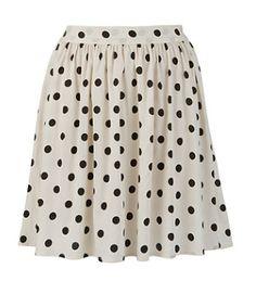 White Pattern (White) Inspire White Polka Skater Skirt | 253129719 | New Look