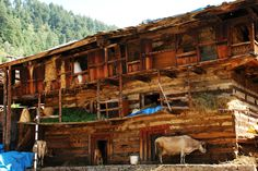 Traditional house made of wood and mud in Manali.