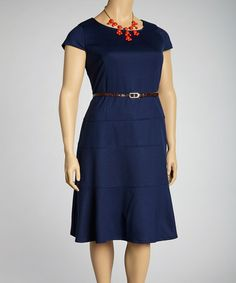 Look what I found on #zulily! Navy Belted Cap-Sleeve Dress - Plus #zulilyfinds