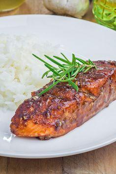 Skinny Balsamic Glazed Salmon Fillets Recipe with White Wine, Garlic ...