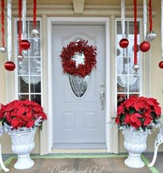 poinsettias would be an easy addition to front porch for Christmas & 49 best Christmas Front Porch Ideas images on Pinterest | Christmas ...